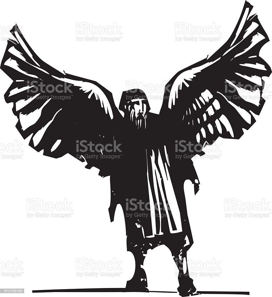 Winged Daedalus the inventor vector art illustration