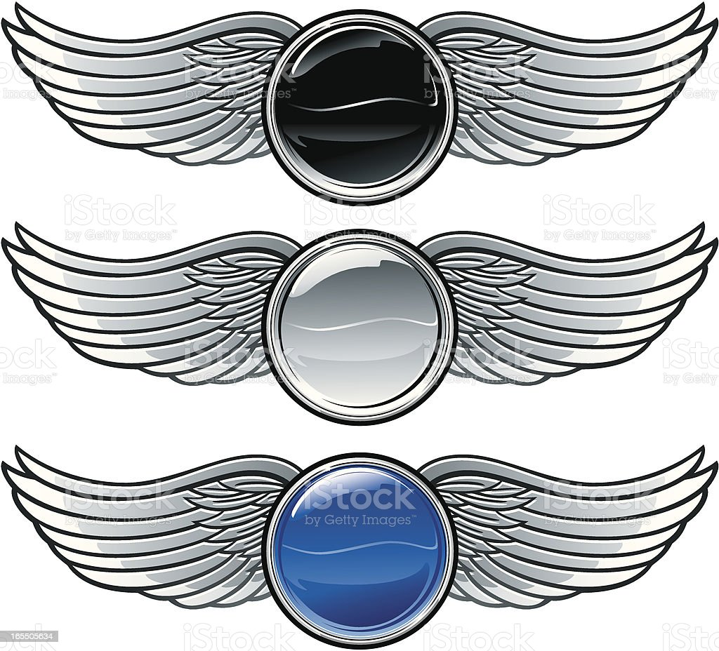 Winged emblems with buttons royalty-free stock vector art