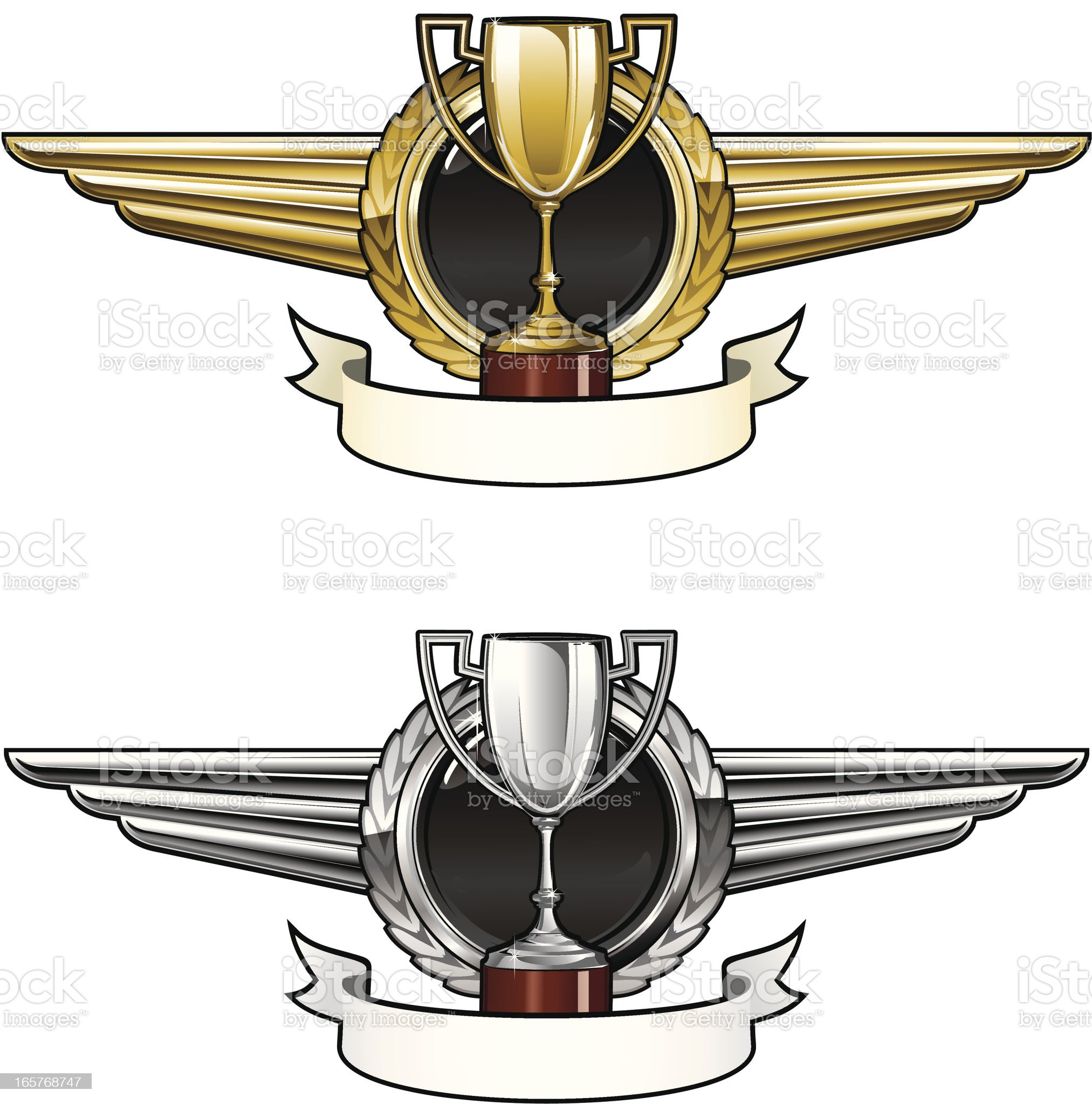Winged emblems with cup royalty-free stock vector art