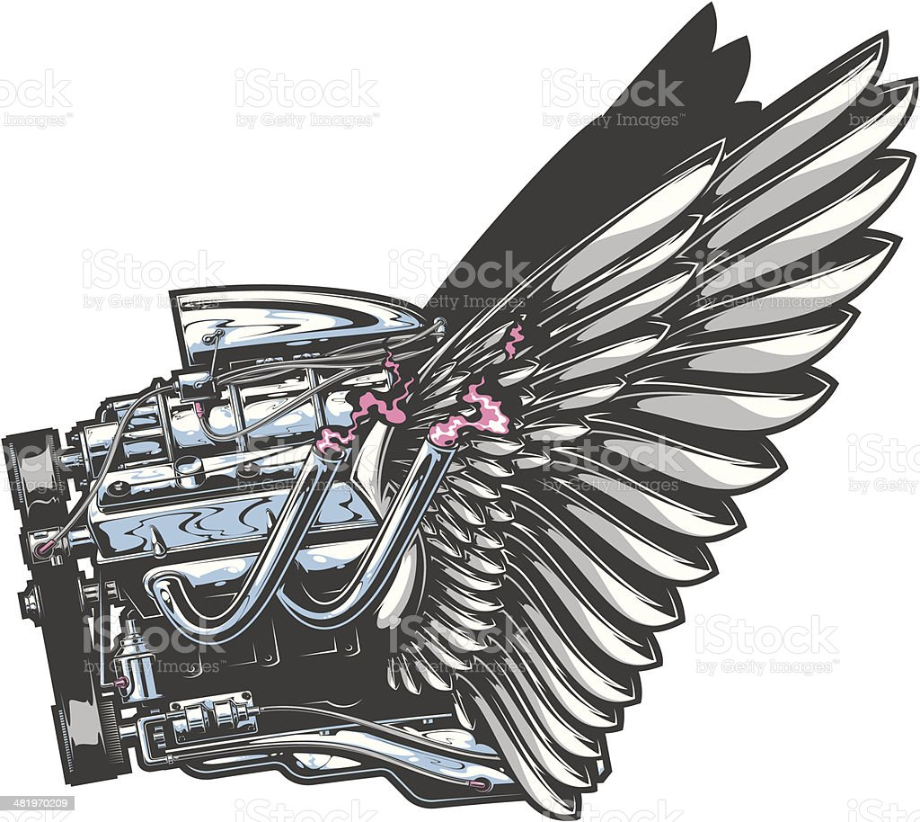 winged engine royalty-free stock vector art