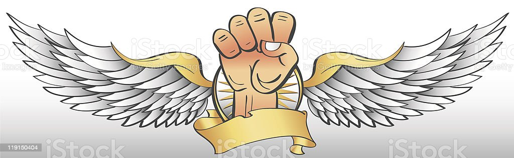 Winged Fist royalty-free stock vector art