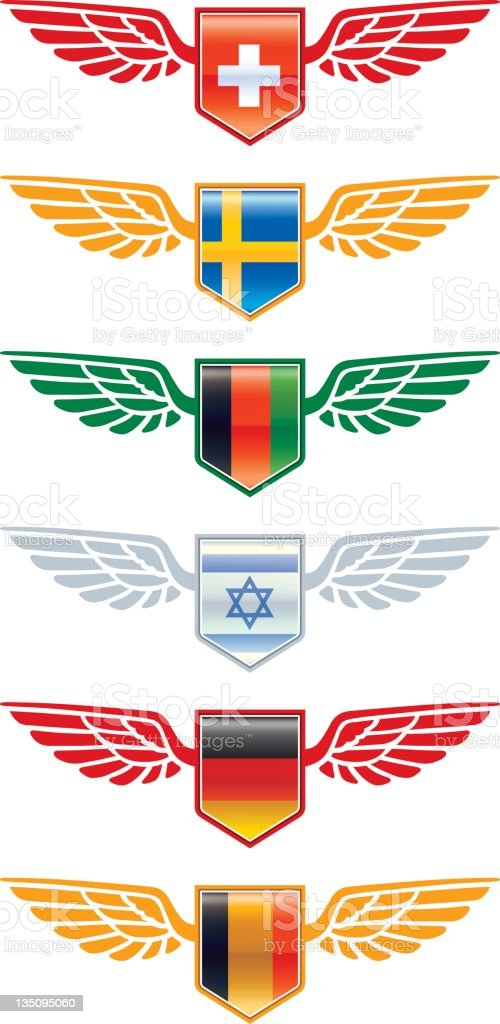 Winged flags three royalty-free stock vector art