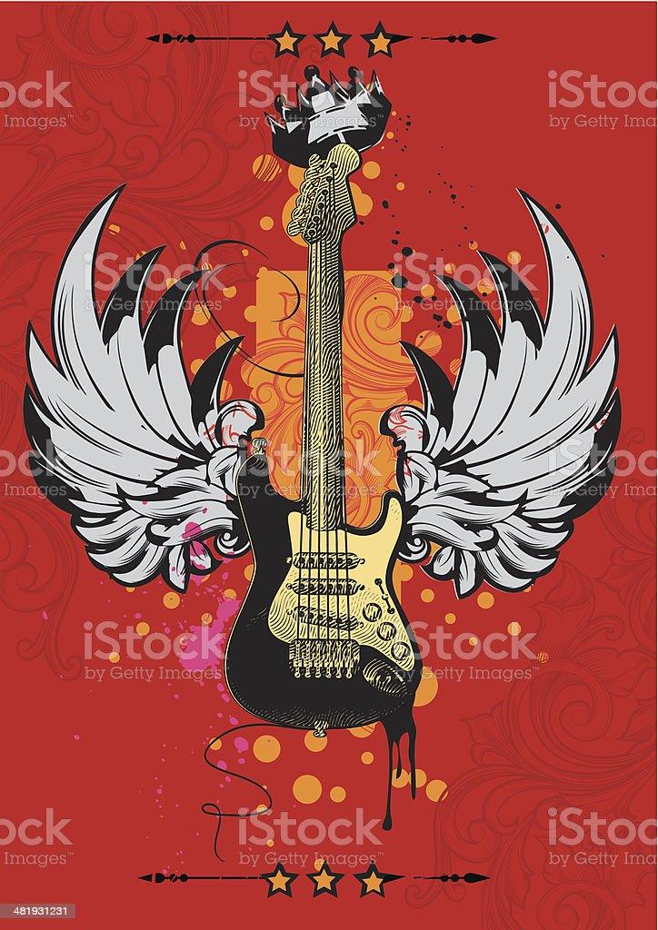 Winged guitar poster vector art illustration
