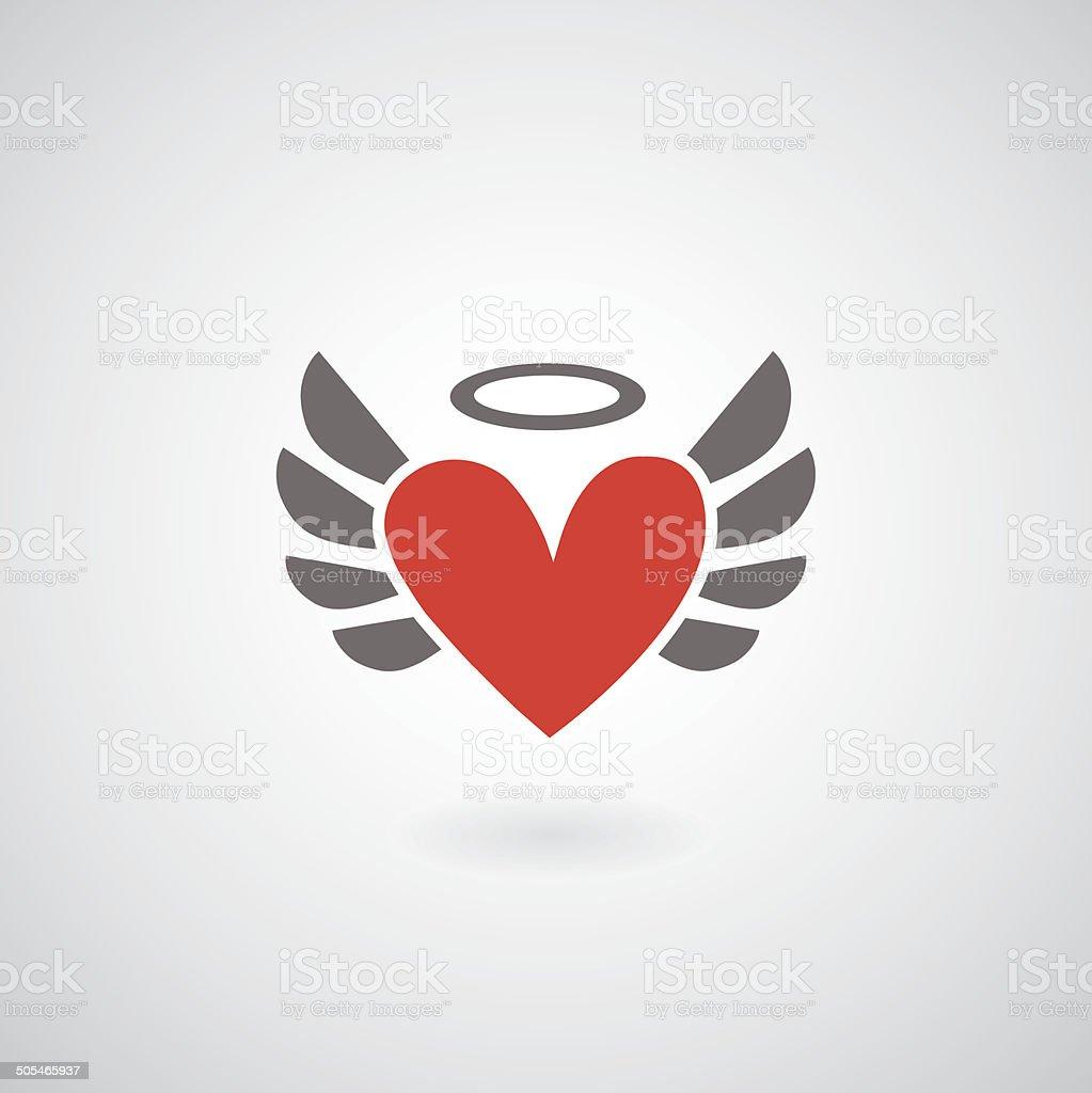 Winged heart symbol vector art illustration