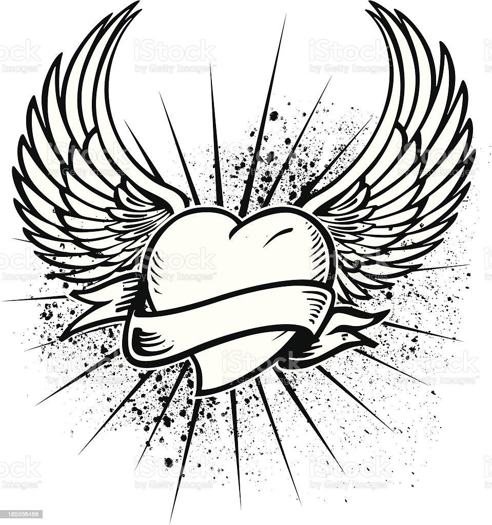 Winged Heart Tattoo Design royalty-free stock vector art
