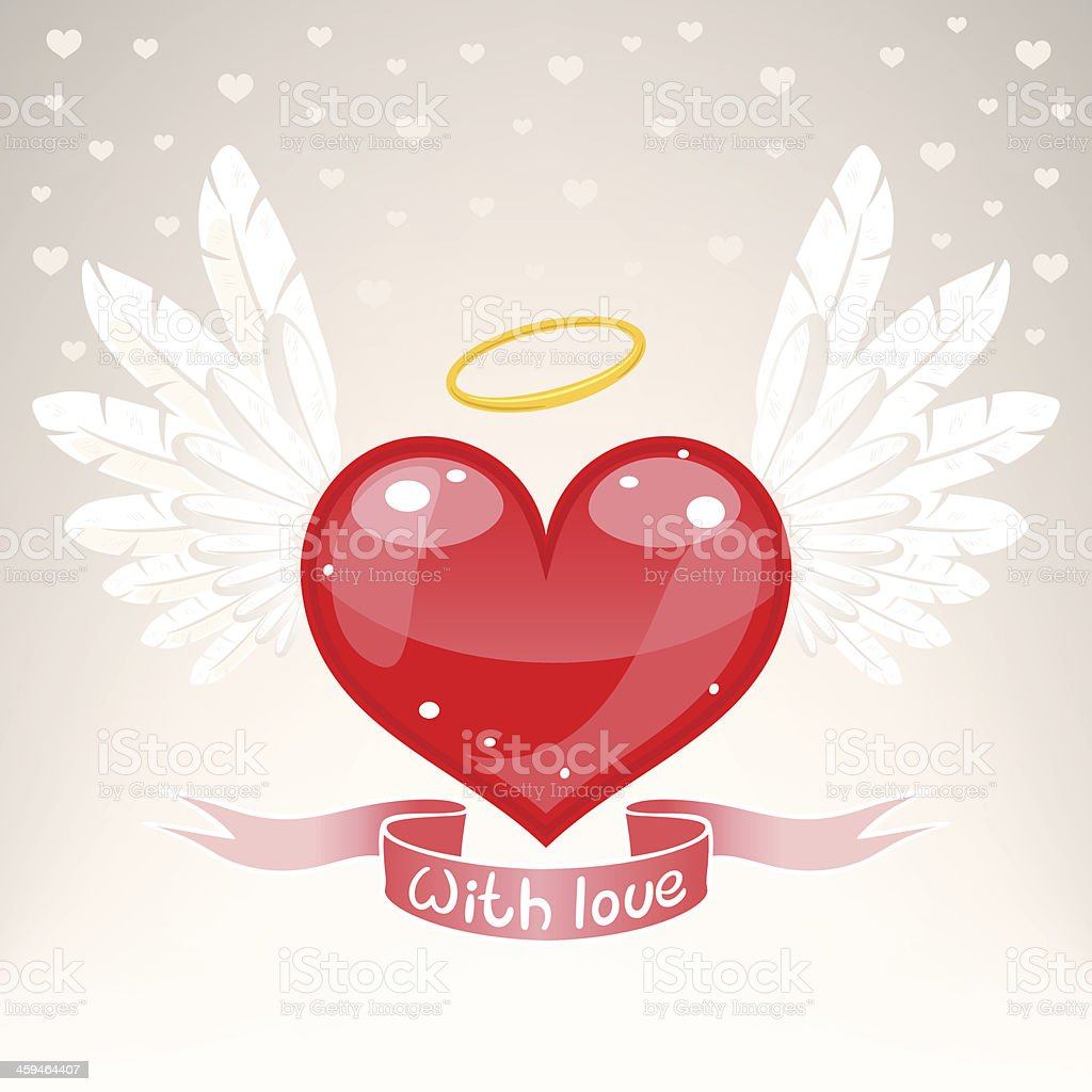 winged heart vector art illustration