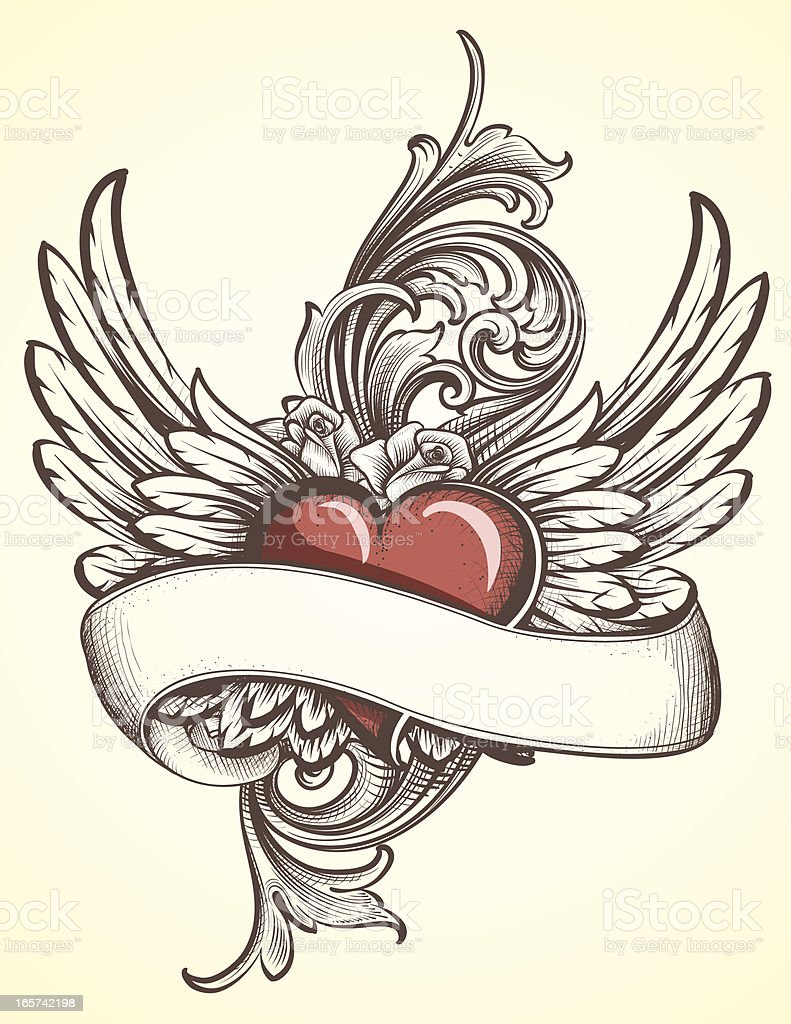 Winged Heart with Scroll tattoo royalty-free stock vector art