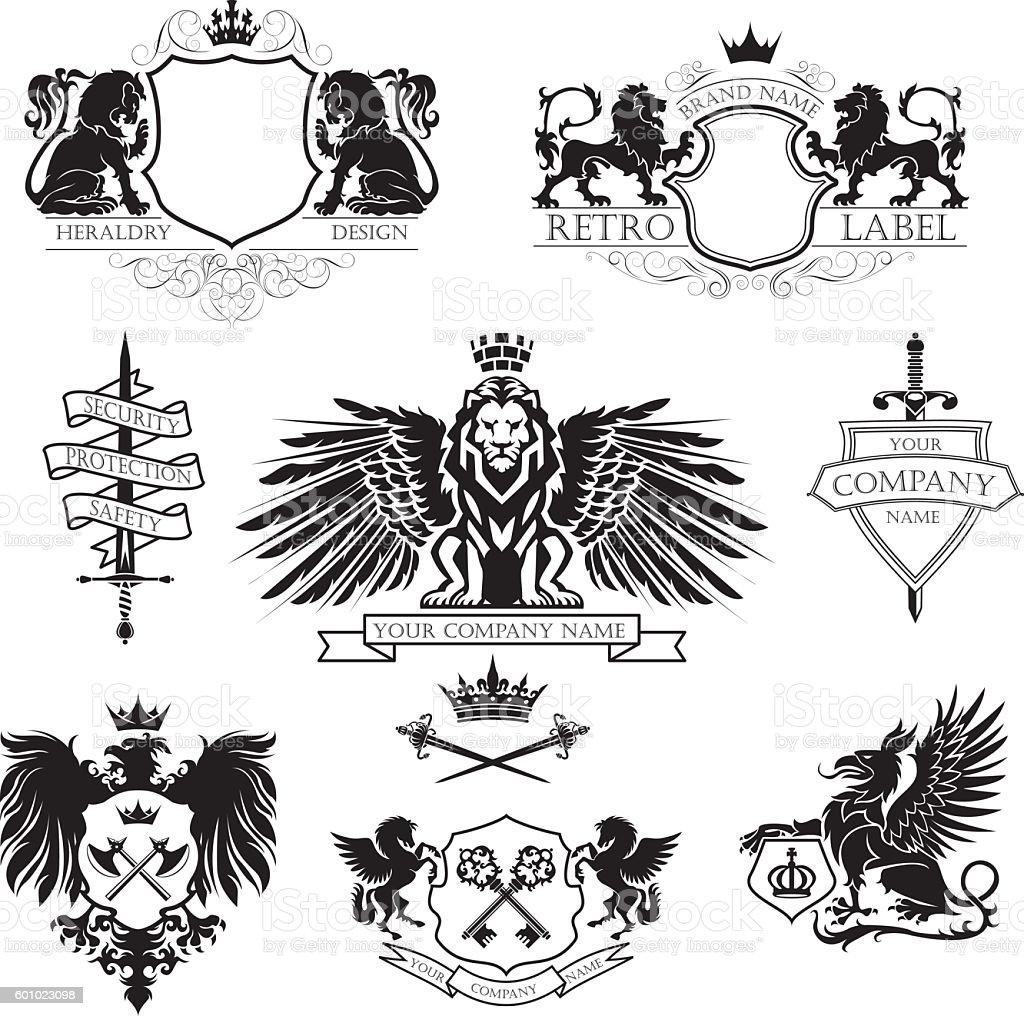 Winged lion set coat of arms vector art illustration