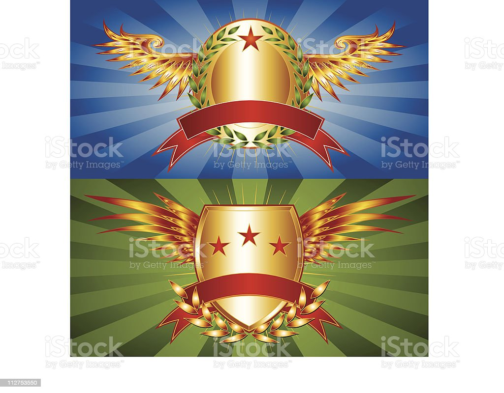 WInged Logo Crests royalty-free stock vector art