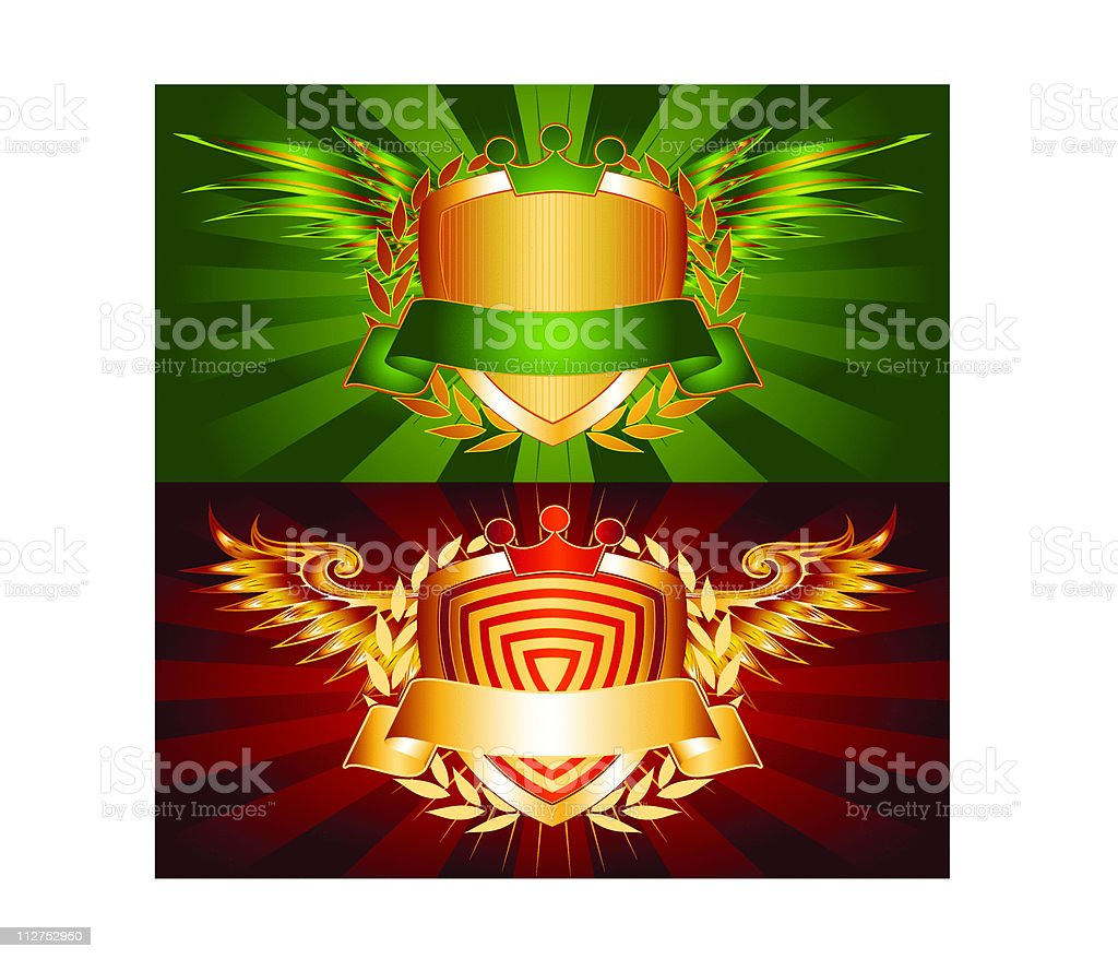 Winged Logo Crests with Crowns royalty-free stock vector art