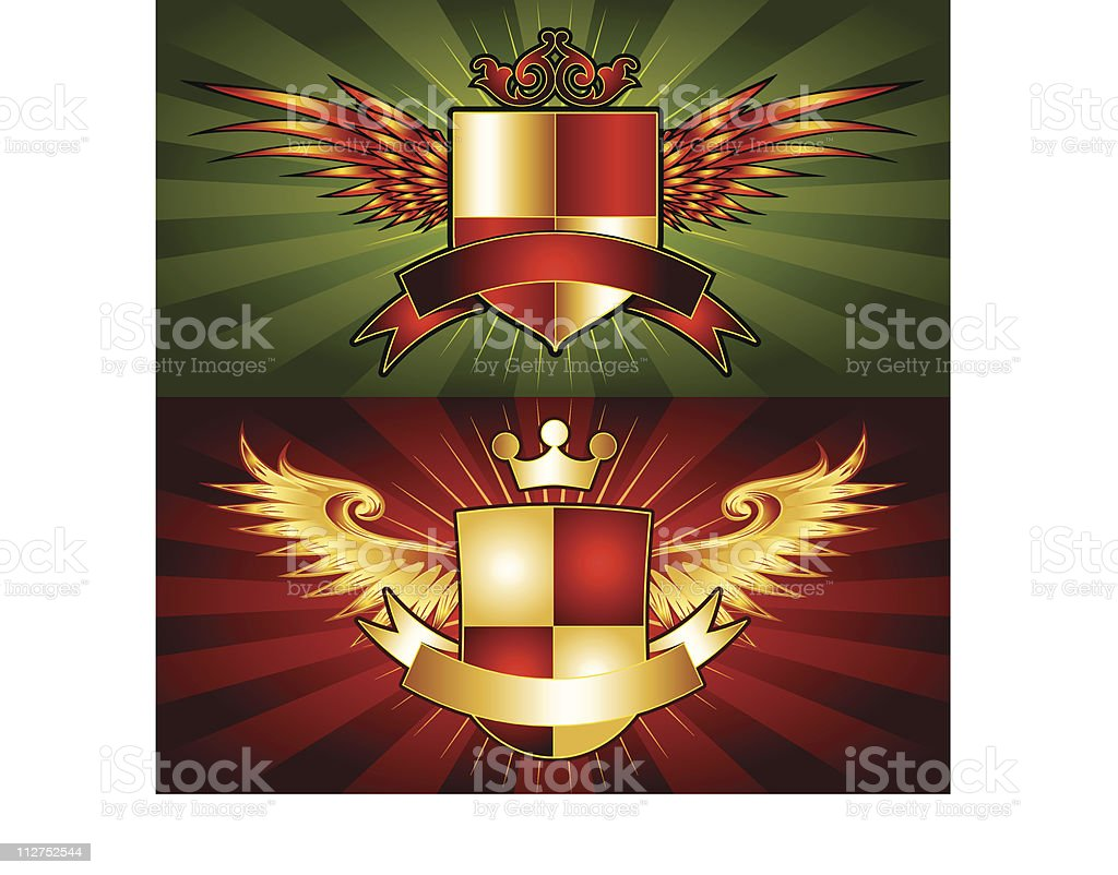 WInged Logo Royalty Crests royalty-free stock vector art