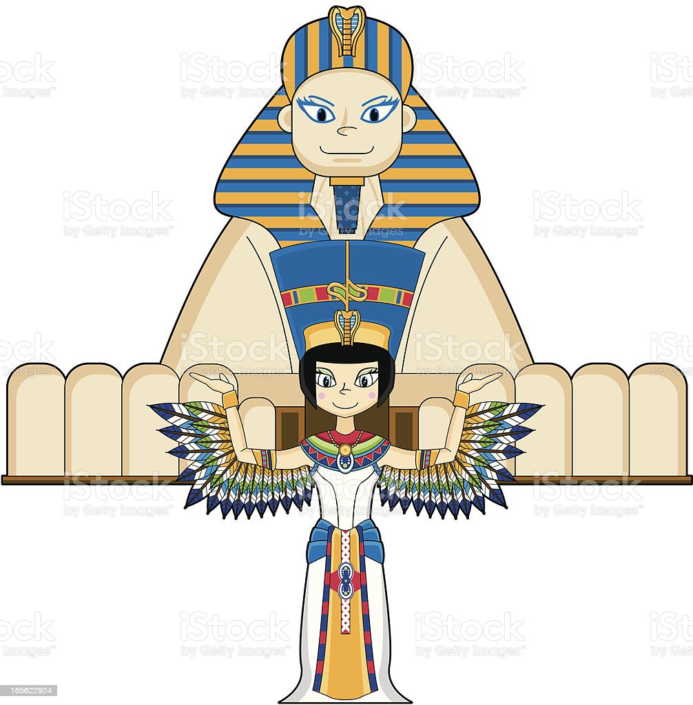Winged Nefertiti with Sphinx royalty-free stock vector art