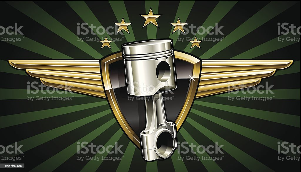 Winged Piston Emblem royalty-free stock vector art
