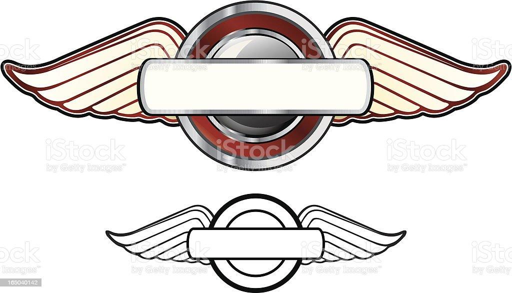 Winged Plaque vector art illustration