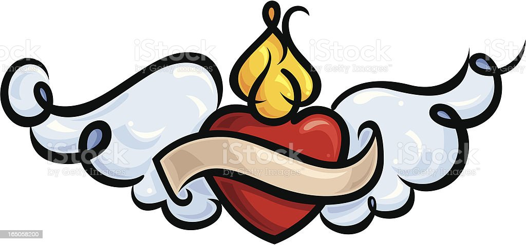 Winged Sacred Heart royalty-free stock vector art