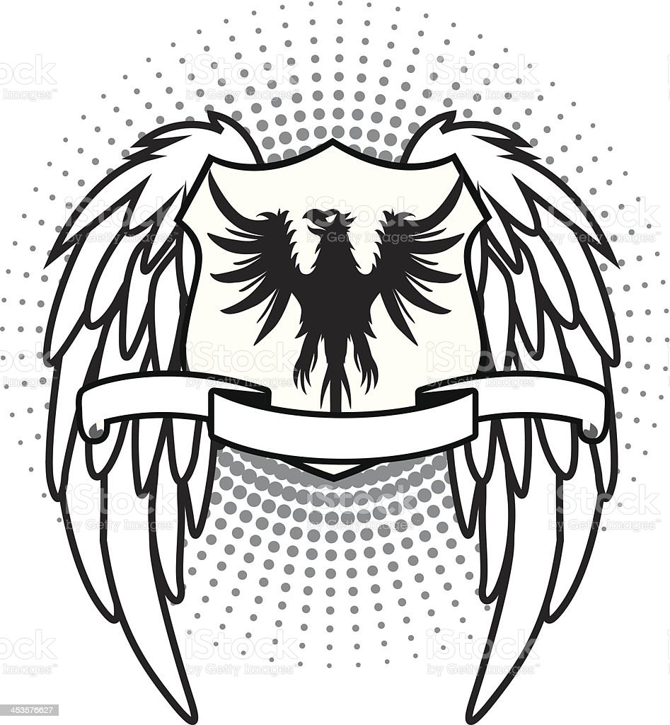 Winged shield eagle vector art illustration
