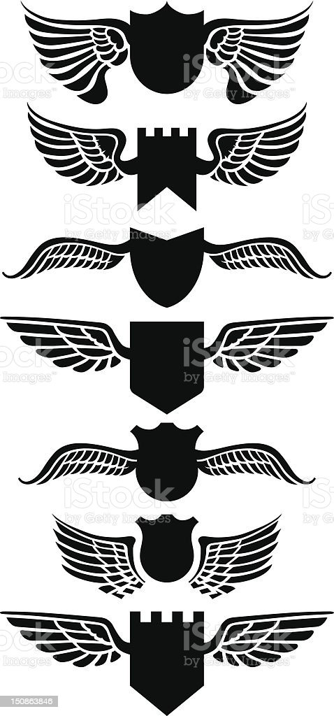 Winged shields royalty-free stock vector art