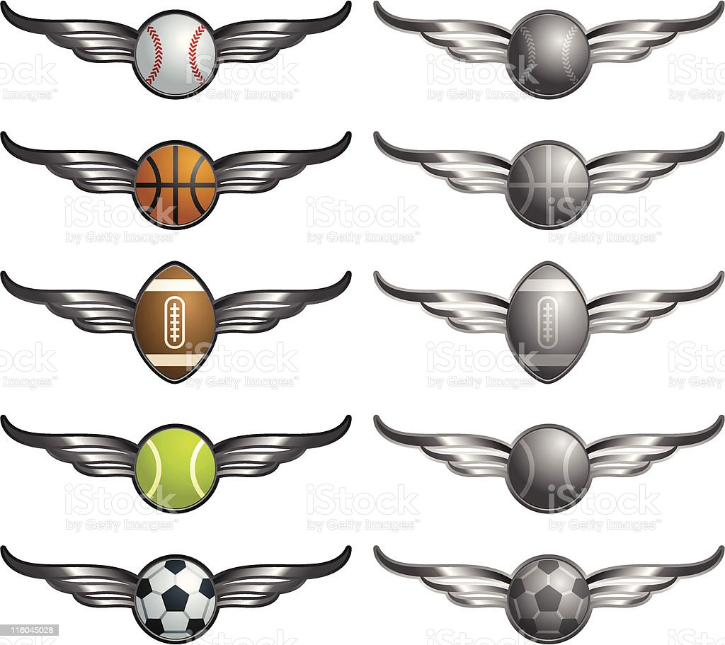 Winged Sports Balls royalty-free stock vector art