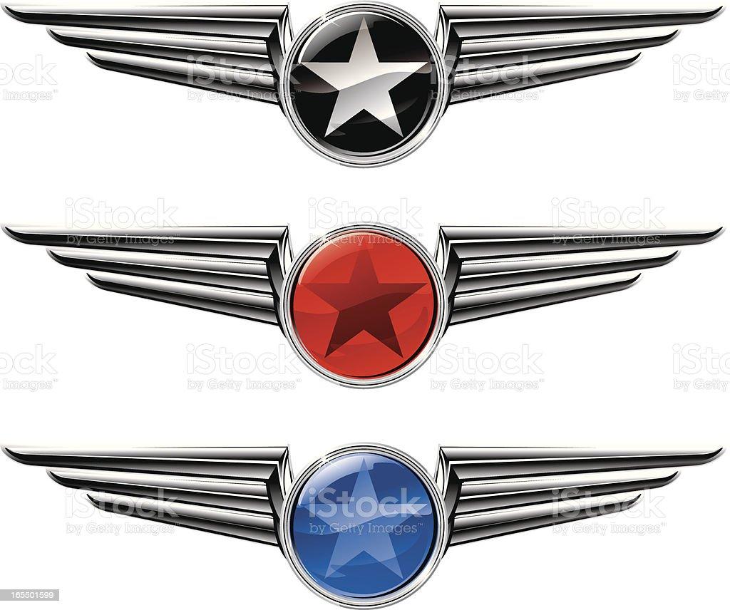 Winged Star Emblems vector art illustration