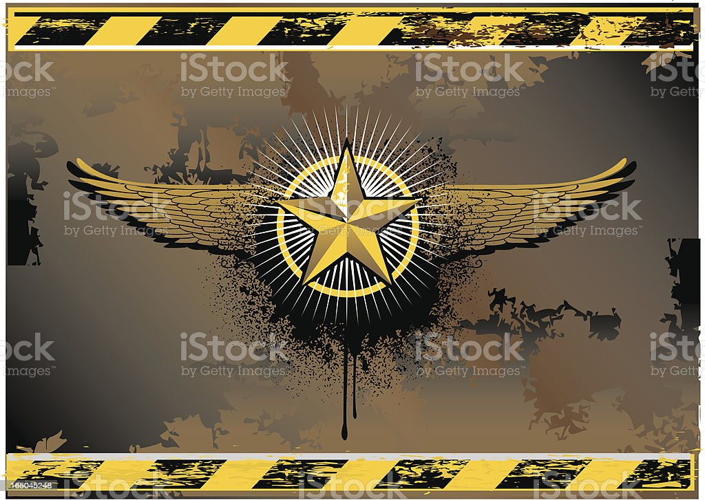 winged star grunge symbol royalty-free stock vector art