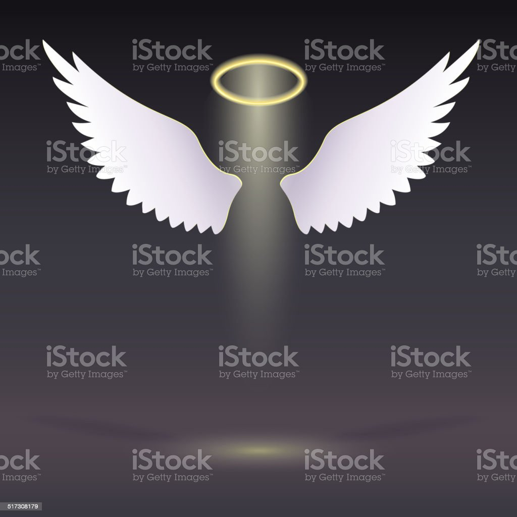 Wings and golden halo. vector art illustration