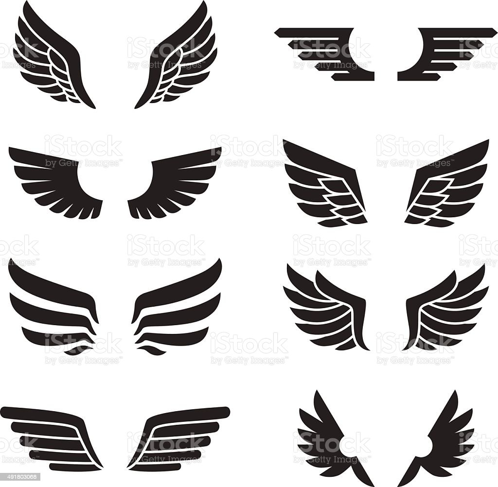 Wings black icons vector set. Minimalistic design. vector art illustration