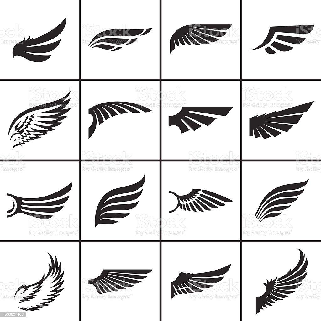 Wings design elements set vector art illustration