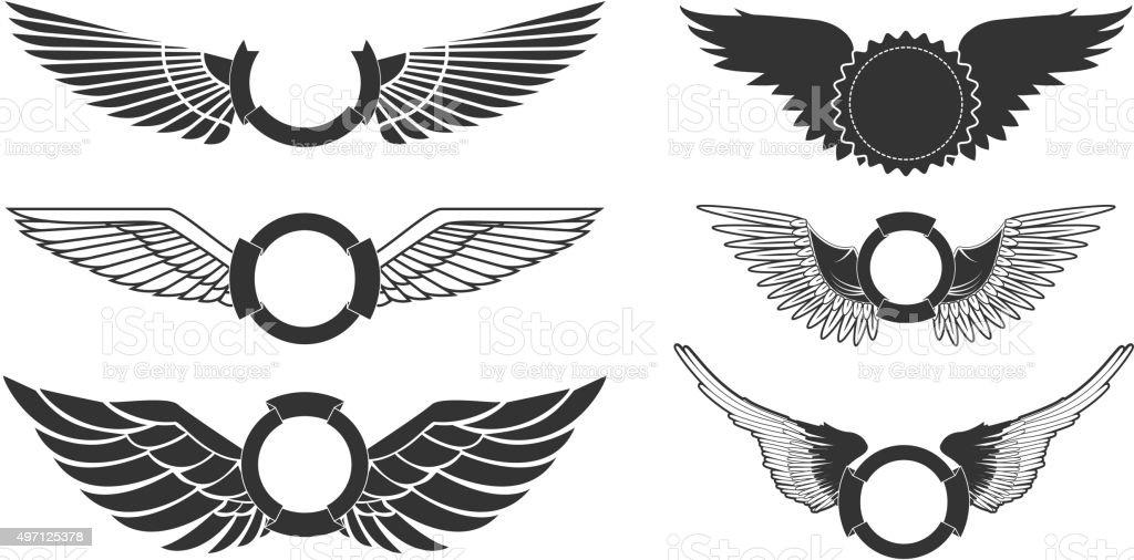 wings emblems vector art illustration