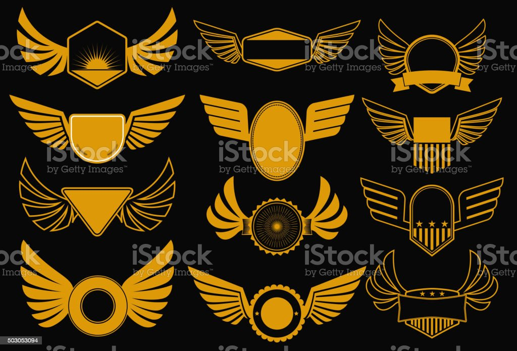 wings gold collection vector art illustration
