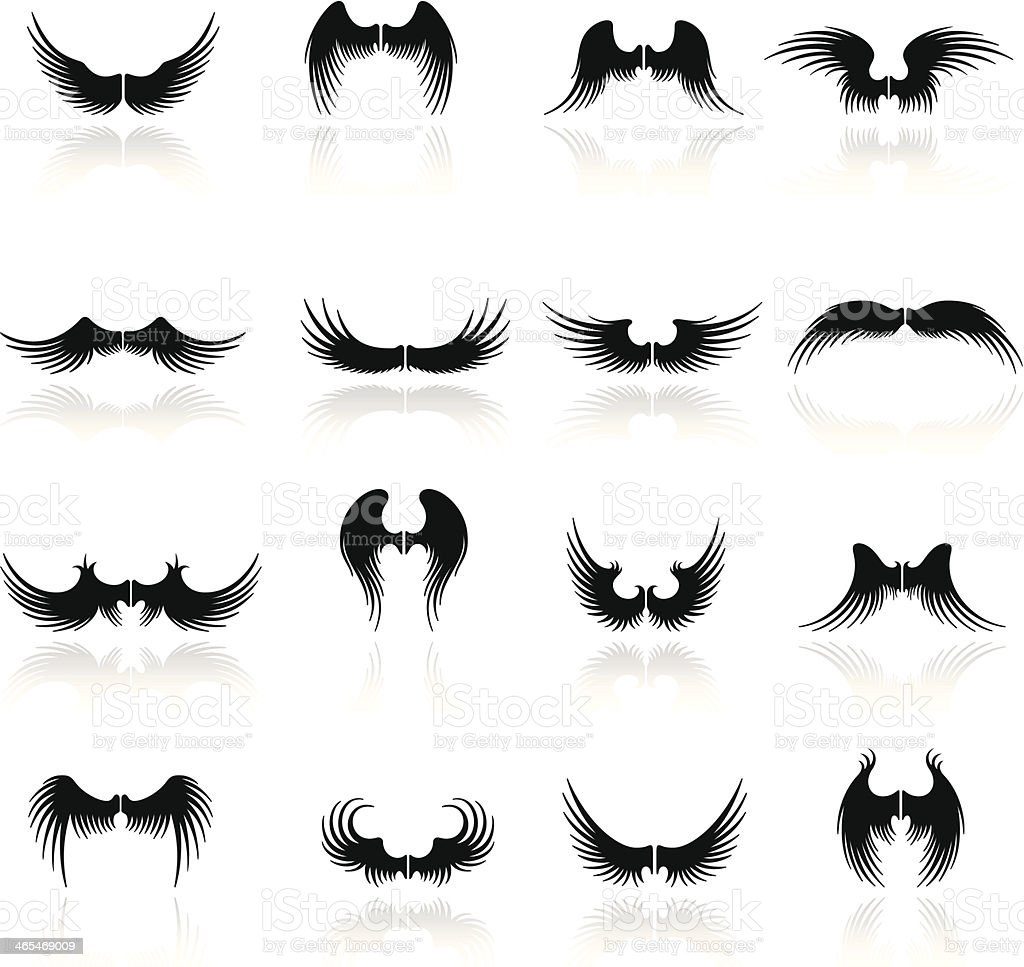 Wings Icon Set vector art illustration