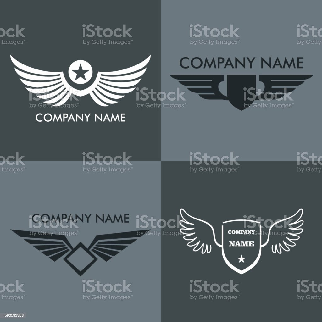 Wings logo for company on gray background vector art illustration