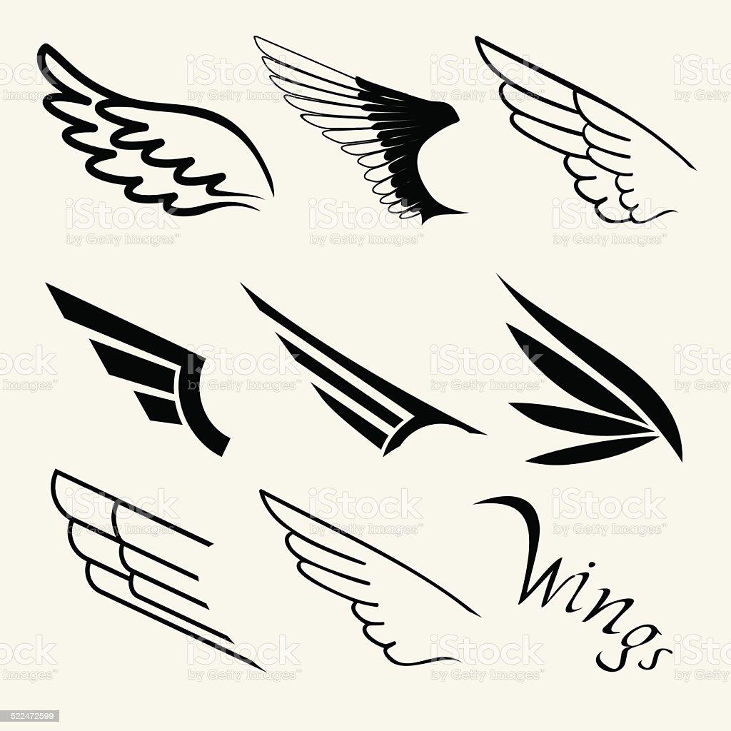Wings set on white background, vector vector art illustration