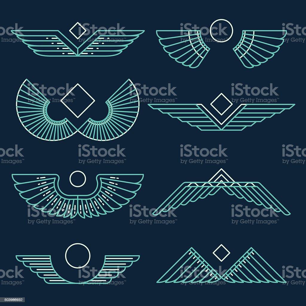 Wings template vector illustration linear style vector art illustration
