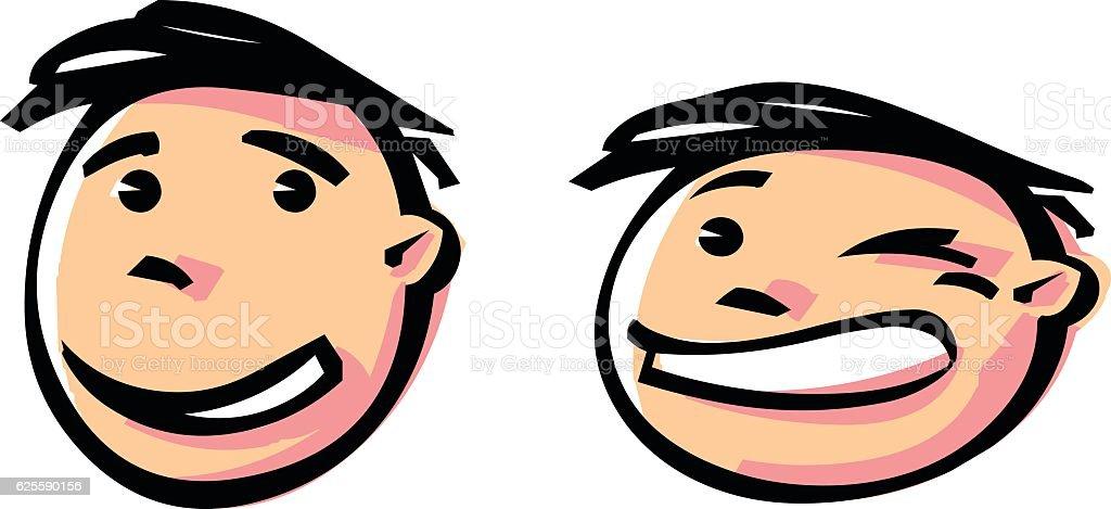 Winking face animation vector art illustration