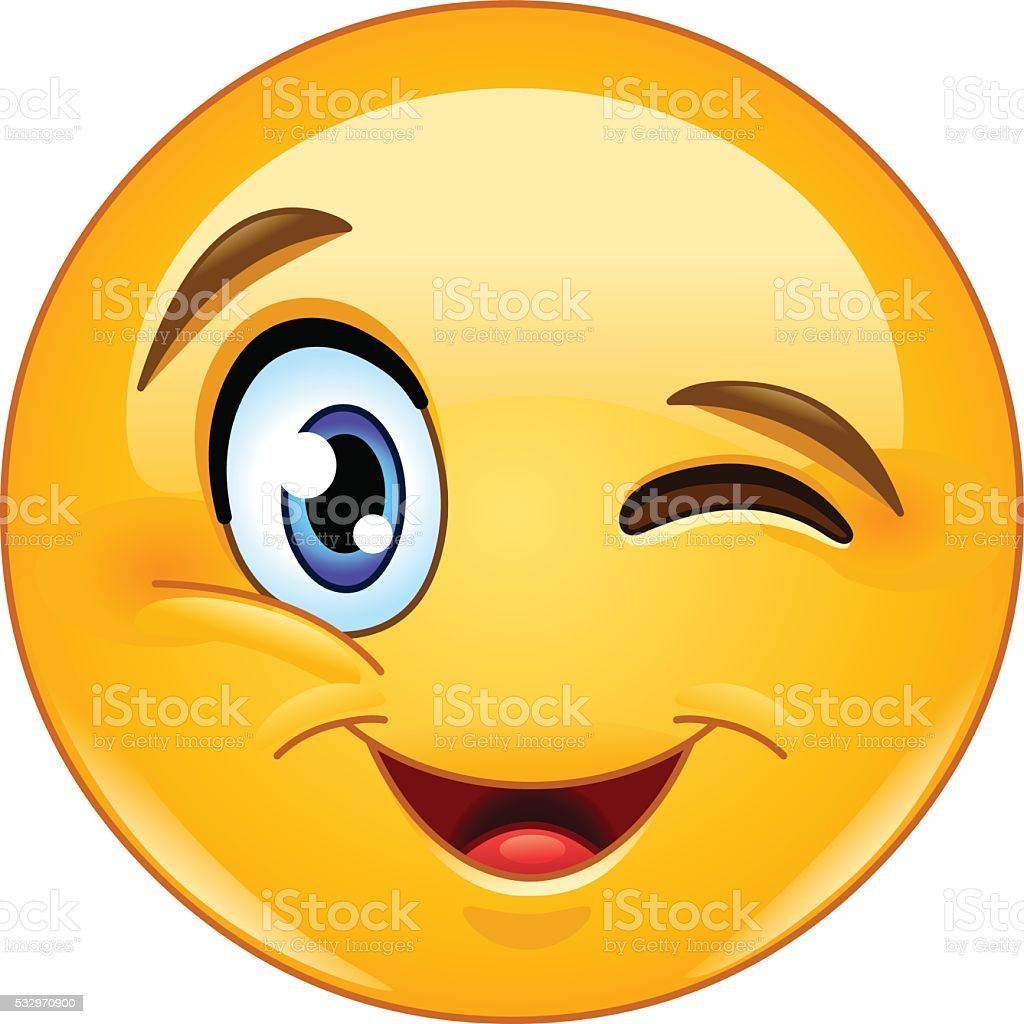 Winking face emoticon vector art illustration