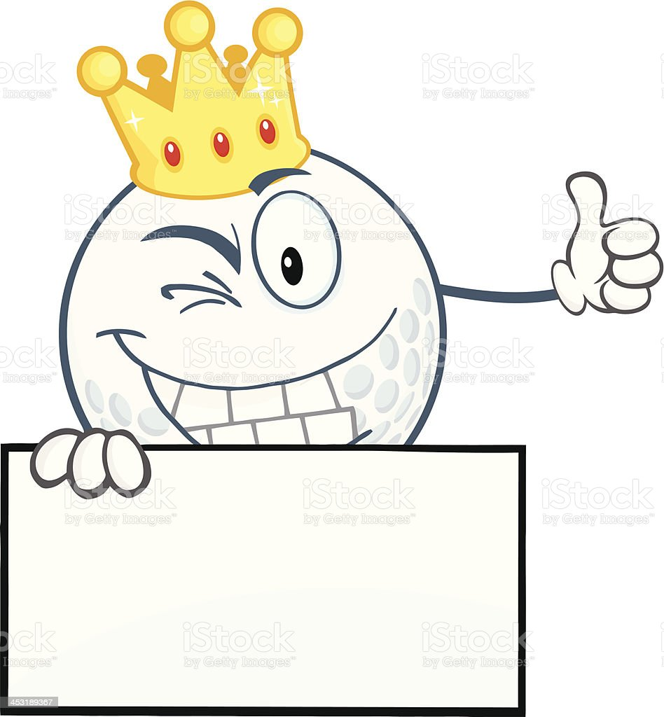 Winking Golf Ball With Gold Crown Holding A Thumb Up royalty-free stock vector art