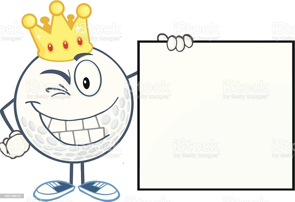 Winking Golf Ball With Gold Crown Showing A Sign royalty-free stock vector art