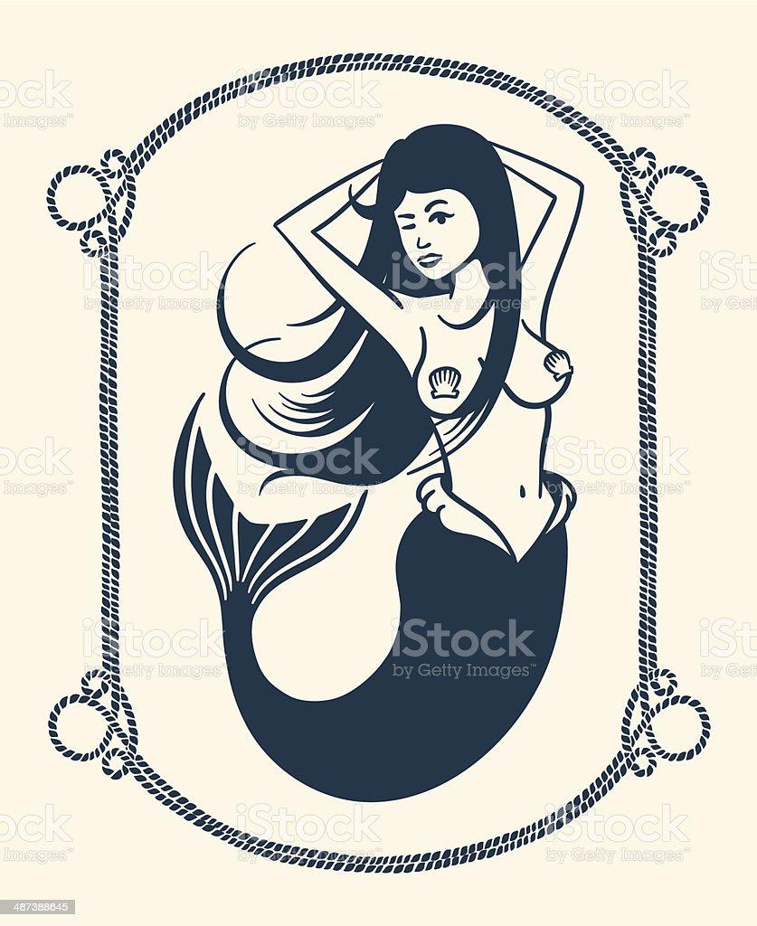 Winking mermaid illustration vector art illustration