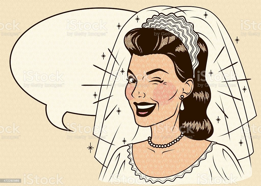 Winking Retro Bride with Speech Bubble royalty-free stock vector art
