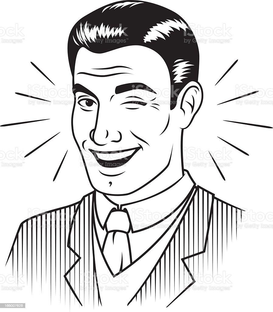 Winking Retro Man vector art illustration