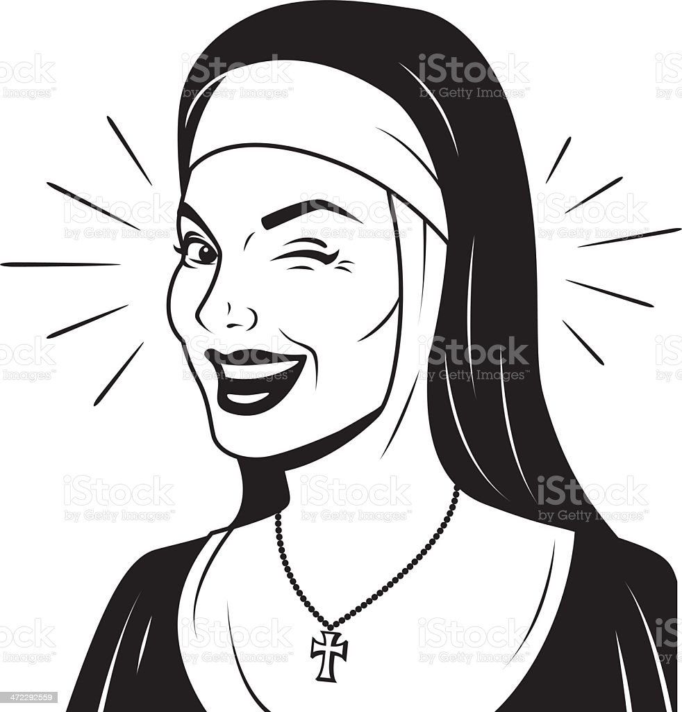 Winking Retro Nun vector art illustration