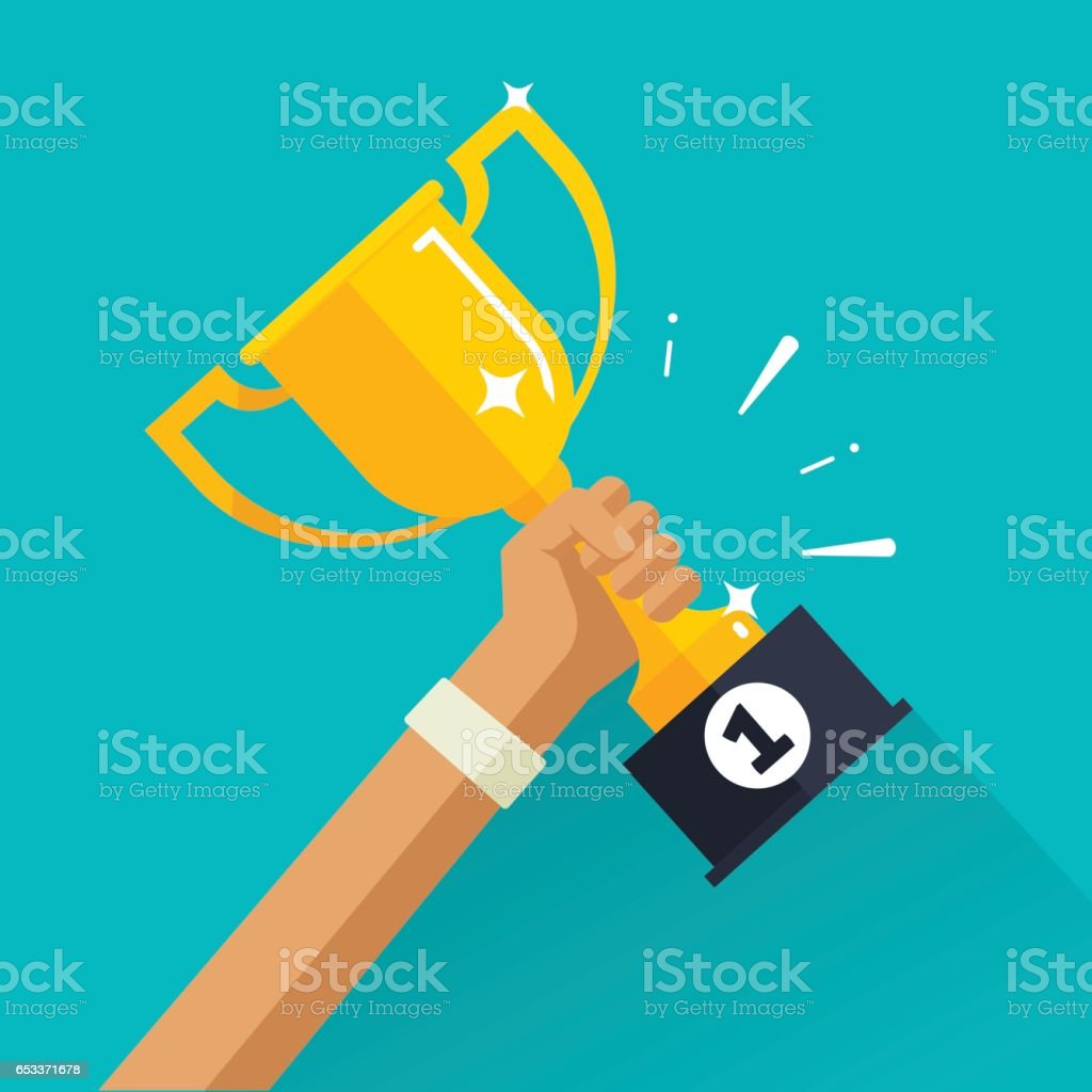 Winner achievement sport award vector illustration, golden cup in sportsman hand with first place label vector art illustration
