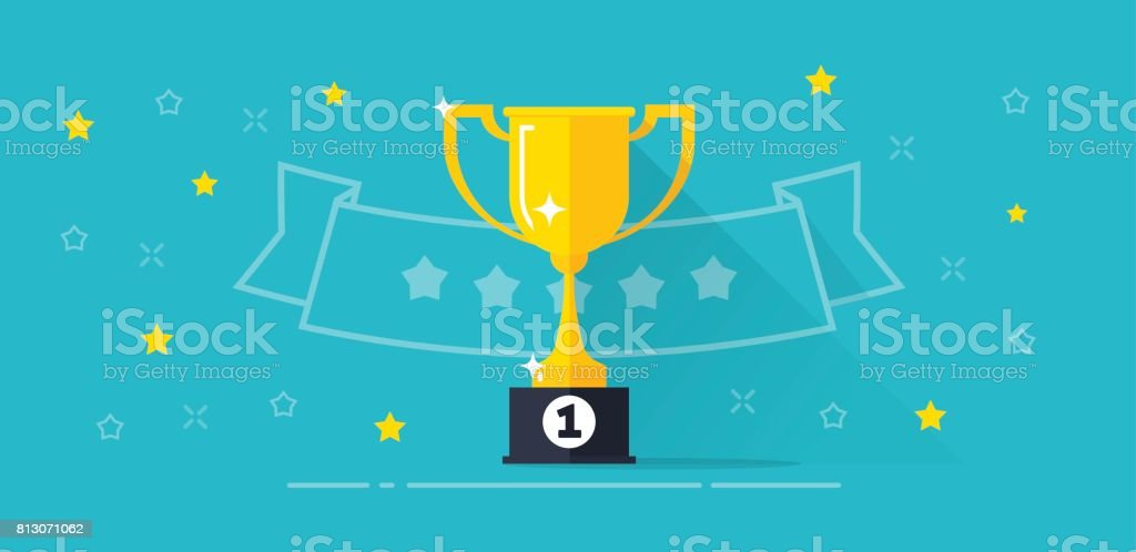Winner award banner vector illustration, flat cartoon trophy golden cup with first place prize and line outline ribbon with stars, competition reward, victory, championship vector art illustration