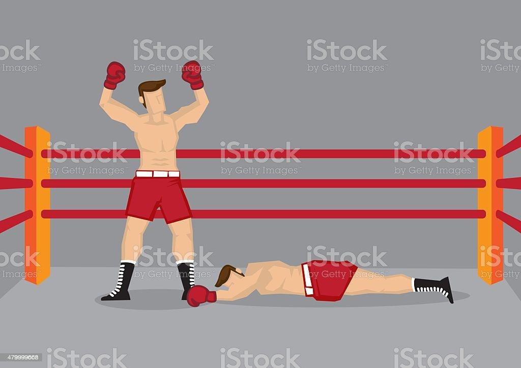 Winner Boxer in Boxing Ring Vector Illustration vector art illustration