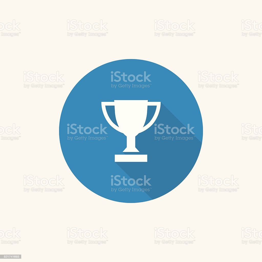 winner cup Flat Blue Simple Icon with long shadow vector art illustration