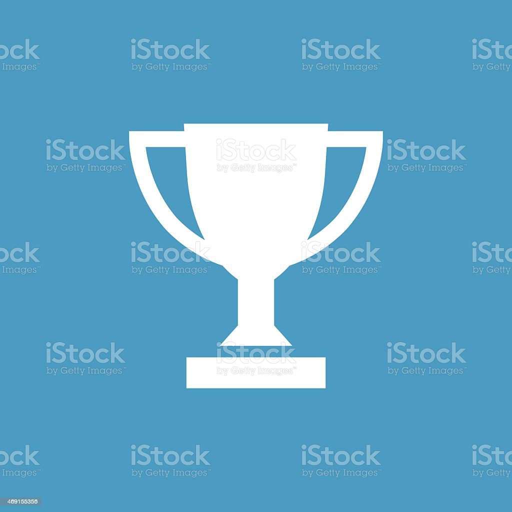 winner cup icon, white on the blue background vector art illustration