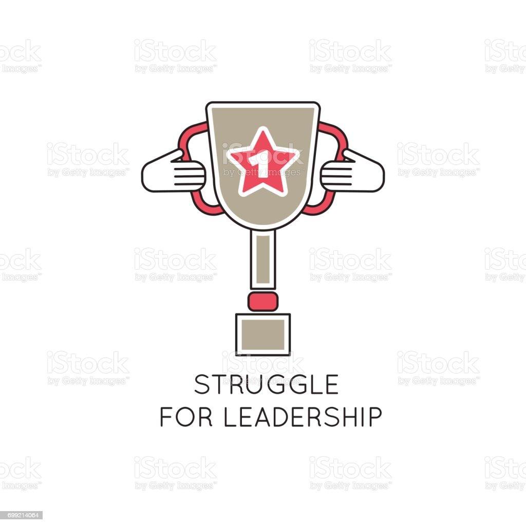 Winner cup line icon vector art illustration