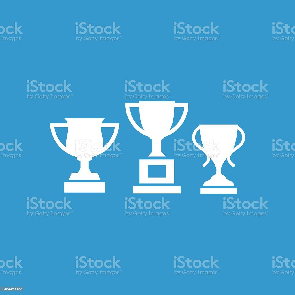 winner cups icon, isolated, white on the blue background vector art illustration