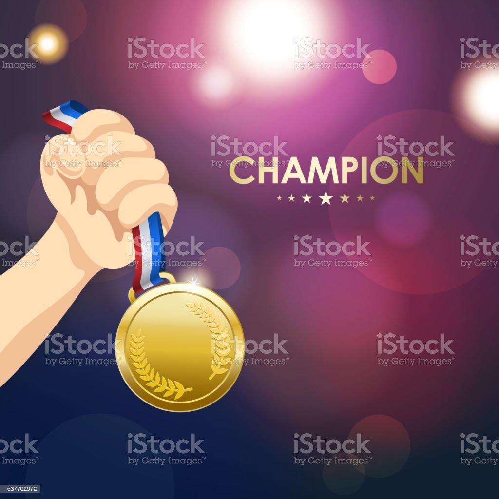 Winner Medal vector art illustration