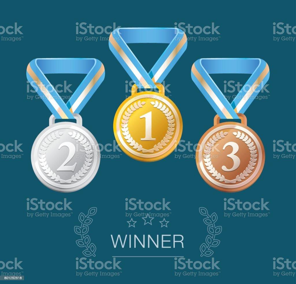 Winner medals isolated on dark blue vector art illustration